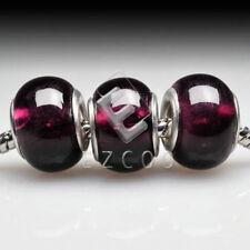 5pcs Murano Glass European Beads Lampwork Spacer Fit Charm Bracelets 14x10mm