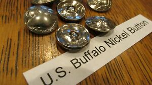 REAL BUFFALO NICKEL COIN BUTTONS / CONCHOS / SNAPS Indian Head Pennies GENUINE