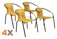 4 x chaises Bistro poly rotin empilable nature