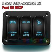 3 Gang Toggle Rocker Switch Panel Blue LED Light for Car Marine Boat Waterproof