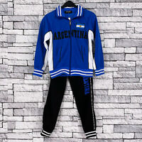 BOYS GIRLS FOOTBALL TRACKSUIT TRAINING ZIP TOP & BOTTOMS ARGENTINA JOGGING SET