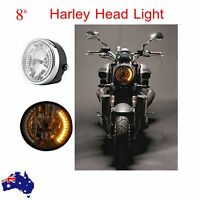 8'' Motorcycle Turn Signal Headlight Projector Yellow LED For Harley Bobber Dyna