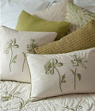 Sibona Peony Pistachio Embroidered  Cushion 100% Pure Cotton - COVER ONLY