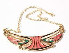 Vintage Czech Bohemia gold tone necklace pink enamel Greek style scroll pendant