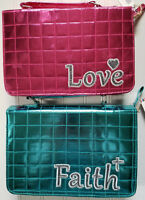 Shiny Quilted Child's Bible or Missal Cover ~ Blue Pink Faith Love ~Your Choice
