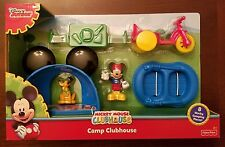 Mickey Mouse Camp Clubhouse Playset w/ Mickey & Pluto Figures, Tent, Bike, Raft