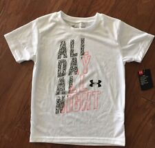 Boys Under Armour Athletic Shirt, White All Day All Night Size 6- NWT