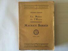 LES MAITRES DE L'HEURE 1922 MAURICE BARRES VICTOR GIRAUD