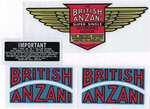 British Anzani 'Super Single' Vintage Outboard Motor Repro Decals
