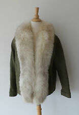 Vintage Khaki Green Wool Real Genuine Silver Fox Fur Trim Collar Jacket Coat M
