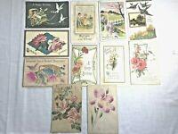 11 Victorian vintage postcards Birthday 1911 roses birds some embossed