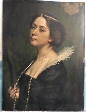 MEYER Alfred Huile s/ Panneau Portrait de Femme Collier Perles Diadème Peinture