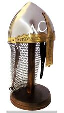 Medieval Steel Armor Viking Helmet With Chainmail Hand-Forged SCA Helmet Armour