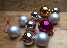 Job Lot Of 10 Multicoloured Baubles/Christmas Tree/Medium Pink/Silver/Gold