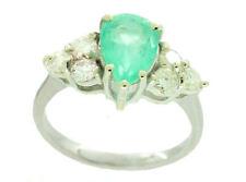 1,94 ct Colombiano Smeraldo E Diamante Anello A Grappolo in 14K Oro Bianco