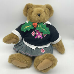 """Vermont Teddy Bear School Girl 15"""" Classic Jointed Brown Sweater Skirt Sequins"""