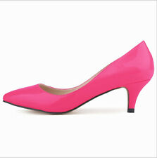 Womens Med Heels Shoes Pointed Pumps Stiletto Wedding Casual Party Dress Shoes