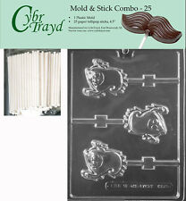 Smiling Happy Ghost Lolly Chocolate Mold w/Cybrtrayd Instructions FREE STICKS