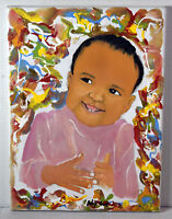 """16"""" Vintage Oil Painting Canvas Cute Baby Dark Hair Girl"""
