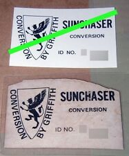 Toyota Celica Griffith label reproduction service Sunchaser ID tag