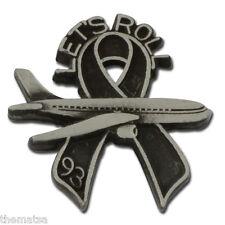 United Flight 93 9-11 Let'S Roll Black Ribbon Memorial Pewter Lapel Pin