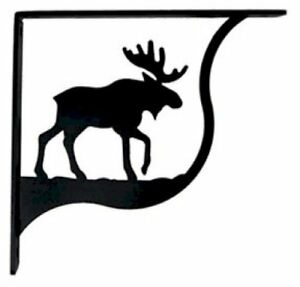 """Wall Shelf Bracket Pair Of 2 Moose Pattern Wrought Iron 9.25"""" L Crafting Accent"""