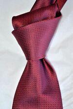 "$230 NWOT BRIONI Red w/ black grid dots men's Handmade 3.5"" woven silk tie ITALY"