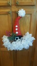 Christmas Santa Hat Handmade Door Wall Decoration Wreath Red White Mesh