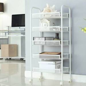 5 Tiers Large Kitchen Trolley Cart Rolling Mesh Storage Rack Trolley with Wheel