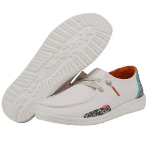 Hey Dude Wendy Snake Linen White Lightweight Comfy Slip On Casual Women's Shoes