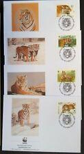Rusland serie en 4 enveloppen WNF tijgers WWF tigers met verzamelbladen