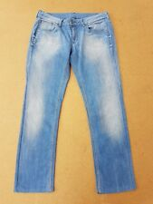 E615 WOMENS G-STAR 3301 FADED BLUE DENIM STRAIGHT LEG JEANS XL 14 W32 L28