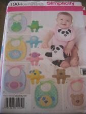 Simplicity 1904 NEW UNCUT BABY Sew Pattern INFANT BABY BIBS Stuffed Animal