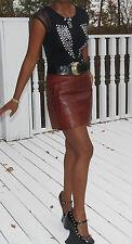 New Dolce & Gabbana Genuine crocodile Alligator burgundy brown Mini skirt 42 4-6