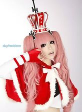 One Piece Perona ONE PIECE Long Curly Pink Cosplay wig + 2 Ponytails
