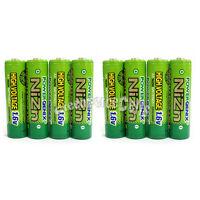 8 pcs 2500mWh 1.6V Volt AA 2A NiZn Rechargeable Battery PowerGenix