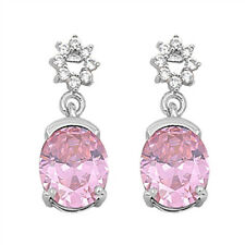 Oval Pink & Cz Dangle  .925 Sterling Silver Earrings
