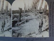 WW1 AFTER BATTLE BY RAGGED GROVE & RUINED ROAD KEYSTONE STEREOVIEW CARD WWI v188