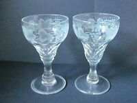 """WALSH GRAPEVINE PATTERN PAIR OF 4½"""" SHERRY GLASSES (Ref378)"""