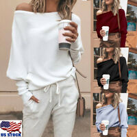 Women One Shoulder Hoodie Sweatshirt Long Sleeve Sweater Jumper Pullover Tops US