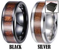 Tungsten Carbide Ring Black Silver Real Koa Wood Inlay Hawaiian Wedding Band