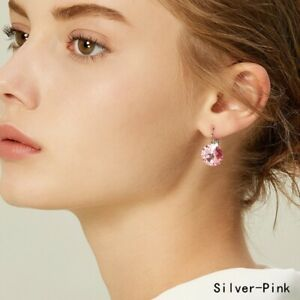 Fashion Silver Round Pink Zircon Dangle Drop Earring Valentine'S Day Jewelry