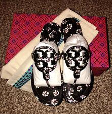 87b373e2d9ef Tory Burch Miller Patent Leather Thong Sandals Black Floral Print 7.5 Bag