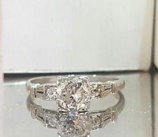Vintage ANTIQUE  ROUND OLD mine CUT 0.92ct  Diamond  Platinum ring
