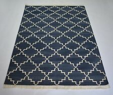 Hand Knotted  Geometric Blue Color Cotton Kilim 4x6 Feet Area Rug DN-1210