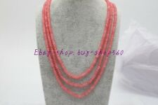 New Natural 3 Rows 2X4mm Faceted Pink Jade Gemstone Necklace 17-19'' AAA