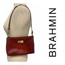 Brahmin Lorelei Melbourne Embossed Leather Shoulder Bag Handbag Wristlet Red