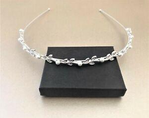 Diamante Leaf Tiara headband with crystals vine style Silver Tone Faux Pearls