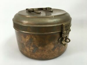 1940 Vintage Old brass Indian bread chapati/JEWELLERY box Rajasthan