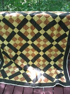 "Handmade Patchwork Gold/Yellow/Brown 9-Patch Quilt, 60"" x 74"""